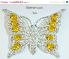ON SALE Vintage Butterfly Brooch Amber Clear by RhinestonesPast,