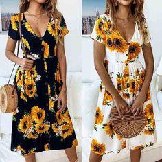 Fashion Short Sleeve V-neck Sunflower Printed Dress Sexy Dresses, Casual Dresses, Fashion Dresses, Short Sleeve Dresses, Sunflower Dress, Sunflower Print, Boho Outfits, Summer Outfits, Dress Summer
