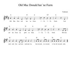 Old Mac Donald has a farm German nursery rhyme with notes chords text and . - Old Mac Donald has a farm German nursery rhyme with notes chords text and video nursery rhymes - Montessori Kindergarten, Kindergarten Songs, Farm Songs, Ukulele Chords, Guitar Songs, Preschool Worksheets, Piano Lessons, Nursery Rhymes, Learn English
