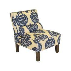Abstract Print Slipper Chair - Blue