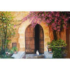 El Gatet de la porta.  Oli en llenç. 55x38 cm. Fons treballat amb sorrenca. Els troncs de la buganvilla tenen relleu de sorrenca.