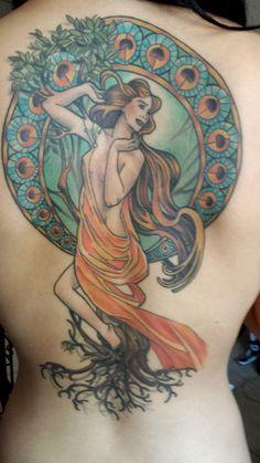 Art Nouveau tattoo of Daphne turning into a laurel tree - Cecelia Altamirano - Seventh Son Tattoo in San Francisco CA