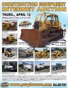 Construction equipment auction  April 12, 2012  http://www.purplewave.com/a/120412