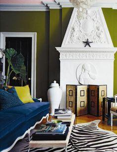 Navy Blue Living Room Zebra Chartreuse White Olive Rooms Skin Rug