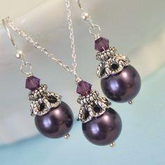 Dark Purple Mother of Pearl Bridesmaid by alexandreasjewels, $16.50