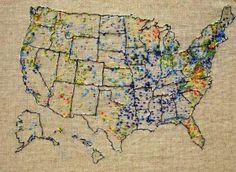 "Heidi Weiss Flood Map (October 19-23, 2009), cotton thread on linen. 7"" x 11"""