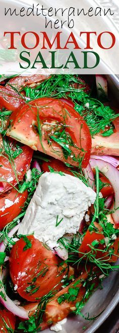 Mediterranean Fresh Herb Tomato Salad   The Mediterranean Dish. Tomatoes and red onions with fresh parsley and dill, doused in citrus and olive oil. Vegan. Gluten-free. Click the image for the recipe and visit TheMediterraneanDish.com for more healthy recipes!