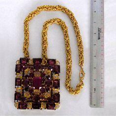 Super-Rare-Verified-D-E-Juliana-Huge-Amethyst-Rhinestone-Brooch-Pendant-Necklace