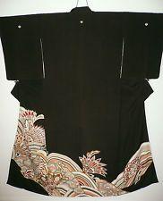 1940s BLACK SILK TOMESODE JAPANESE VINTAGE KIMONO YUZEN DYED EMBROIDERED FLOWERS