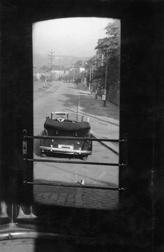 Unique photo taken from the rear platform of street car. Thus somehow tram passengers could see the assassination attempt on Heydrich.