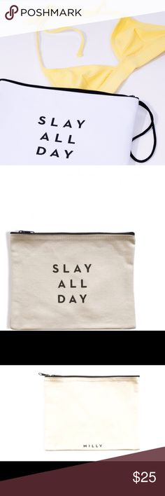 NWT MILLY SLAY ALL DAY Zip Pouch 👙 NWT MILLY SLAY ALL DAY Zip Pouch 👙water resistant Milly Bags Clutches & Wristlets