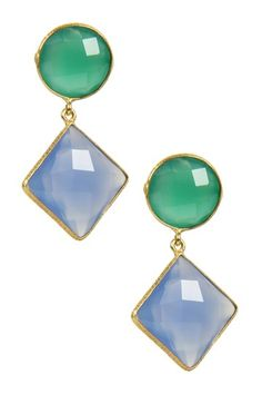 Faceted Green Onyx & Blue Chalcedony Earrings