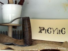 Outdoor display, handstamped picnic card at Smitten in Fredericksburg, TX.