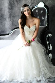STYLE: BL078          A beautiful Lace gown with Tulle overlay that has been lined with Peau de Soie. The strapless sweetheart bodice has been encrusted with crystallized beading and rhinestones and sits above an A-line gown made with a chapel length train. Available in White or Ivory.
