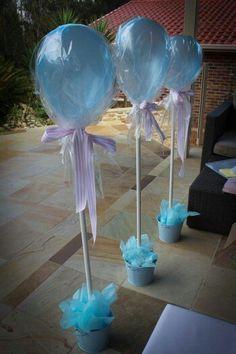 Globo con helio + tela + lazo + tarrito decorativo