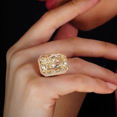 The Fancy Yellow Anastasia Double Shank Diamond Ring by WilliamGoldberg.