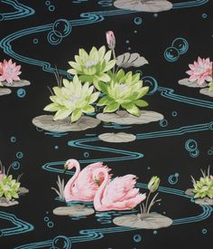 1940's Vintage Wallpaper Pink Swans and Lilies by RosiesWallpaper