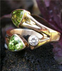 3. Guld - Ringar / Peridot och Brilliant