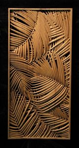 Panel - Palm Fronds carved from wood - I could see this detail in a mono cromatic quilt with color shift