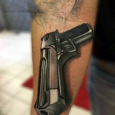 80 Pistol Tattoos For Men - Manly Sidearm Designs Bulldog Drawing, Bulldog Tattoo, Pistola Tattoo, Cat Skull Tattoo, Most Popular Series, Japanese Tattoo Symbols, Money Tattoo, Hand Guns, Tattoos For Guys