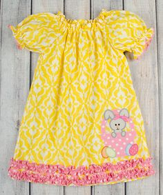 Stellybelly Желтый Дамаск Банни Puff рукавом платье - Младенческая, малышей и девочек   zulily