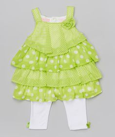 Look at this #zulilyfind! Green Ruffle Dress & White Leggings - Infant, Toddler & Girls #zulilyfinds