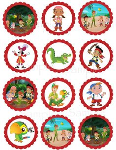 Jake and the Neverland Pirate or Peter Pan Returns set of Printable Cupcake Toppers /Favor Tags on Etsy, $9.04 AUD