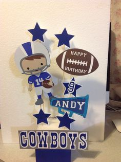 Made with Cricut Explore. Cowboy Party Centerpiece, Cowboy Theme Party, Cowboy Birthday Party, Birthday Party Centerpieces, Football Birthday, 1st Boy Birthday, Boy Birthday Parties, Football Baby Shower, Cowboy Baby Shower