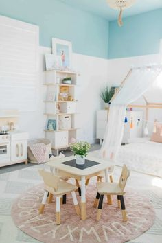 40 Girl\'s Bedroom Ideas With An Awesome Play Space House Frame Bed, Three Bedroom House Plan, Bed Frame, Bedroom For Girls Kids, Little Girl Rooms, Teen Bedroom, Playroom Design, Kids Room Design, Playroom Ideas