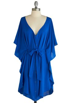 Blue and Me Forever Dress by Jack by BB Dakota - Blue, Solid, Sheath / Shift, Short Sleeves, Ruffles, Casual, Mid-length, Exclusives