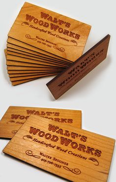 Wooden Business Card, laser etched out of cherry wood!