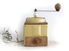 French enamel  and  wood  coffee  grinder  Peugeot - coffee mill
