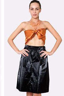 Eco-leather shiny black skirt by JennyJeshko on Etsy