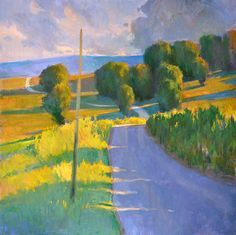 """ian roberts paintings   Road to Sablet - Oil on canvas, 36"""" x 36"""""""