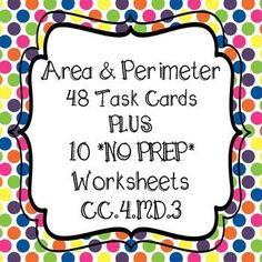 **48 Area & Perimeter Task Cards ** WITH 10 WORKSHEETS!!   4th Grade Common Core Aligned48 Task Cards are color coded for easy organizing*purple = 16  Perimeter  Find perimeter, find missing sides, & word problems*green = 16  Area  Find area, find missing sides, & word problems*pink = 16  Area of combined rectangles, area of shaded regions of two rectangles, word problemsCC.4MD.3Includes Student Recording Sheet And Answer Key for task cards and worksheetsAll Task Cards are Numbere...