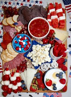 With my love of all things Americana and the charcuterie board, it was a no-brainer that during this festive time for summer, I had to cr. Meat And Cheese Tray, Kinds Of Cheese, Cheese Platters, All American Food, American Pie, Catering Food Displays, Fruit Displays, Yogurt Covered Pretzels, Blue Cookies