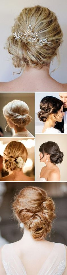 easy pull back with flowers Recogidos bonitos para novias. Wedding hair.