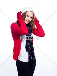 beautiful young woman in winter clothes wearing skull cap. - Portrait of a beautiful young woman in winter clothes wearing skull cap, Model: Brittany Beaudoin