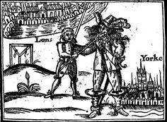 """Picture from the front of the booklet published by John Taylor in London 1642. The Roundhead has the short hair of a typical London apprerntice and is wearing a short tabbed doublet, stiff falling band and tightly cut breeches. He seems to be leading the """"Shag-Poll"""" by the neck from York towards the London gallows."""