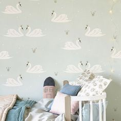 24 Best Ideas to Decorate Kids Bedroom with Wallpaper # # bedroom is always a portion of the full home program. The interiors you pick for your youngster's room must make the room appear bigger,. Swan Wallpaper, Girls Bedroom Wallpaper, Kids Room Wallpaper, Home Wallpaper, Wallpaper Ideas, Green Wallpaper, Children Wallpaper, Wallpaper Designs, Childrens Room