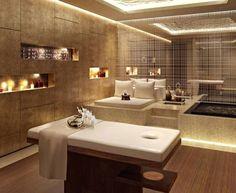 Lighting Spa Decor – Serene and opulently high-designed décor spas Massage Room Design, Massage Room Decor, Spa Room Decor, Spa Interior Design, Spa Design, Relaxing Bathroom, Bathroom Spa, Bathroom Ideas, Spa Lighting
