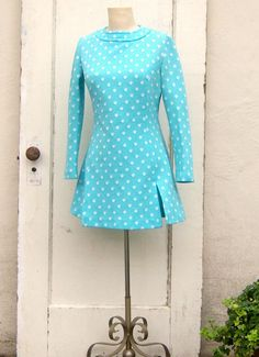 Hey, I found this really awesome Etsy listing at https://www.etsy.com/listing/187559408/vintage-60s-polka-dot-mini-dress-sky