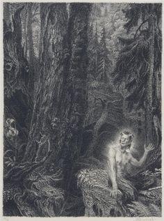 Satyr zpívá hymnus na lesy, 1944 by Max Švabinský