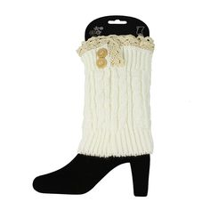 Ginga's Galleria Women's Crochet Knitted Button Lace Boot Cuffs ** To view further for this item, visit the image link.