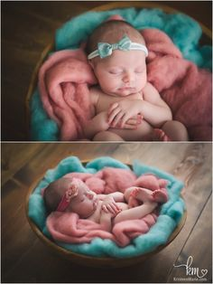 teal and pink newborn photography