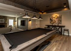 Dynasty Partners custom Game Room adjacent to lower level media room is complete with gorgeous pool table and custom ceiling. #design #home #entertain #interior #decor