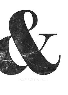 Affisch med typografi, svart marmor | Desenio