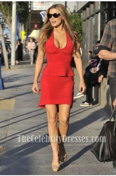 Carmen Electra Short Red Cocktail Dress Party Celebrity Dresses - TheCelebrityDresses