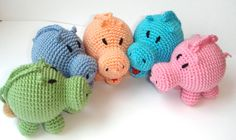 Lovely colorful hippos - Toys Rattles - The first toy for baby - Crochet Animals - Africa safari - hippo. $17.00, via Etsy MiracleFromThreads