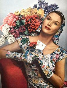 ~Dress by Hattie Carnegie - photo by Louise Dahl-Wolfe for Harper's Bazaar, April 1944~